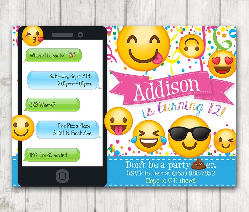 Printable Emoji Birthday Party Invitation Invitations Iphone Smiley Face Girl Emojis Bday Invite Emoticon