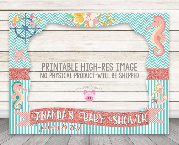 PRINTABLE Seahorse photo booth frame Baby Shower photo booth | Etsy