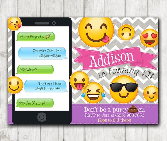 printable emoji birthday party invitation emoji invitations etsy