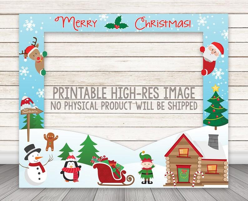 Fotorahmen Weihnachten.Druckbare Weihnachten Stand Fotorahmen Urlaub Party Foto Booth Rahmen Fotostand Stütze Frohe Weihnachten Photobooth Prop Rentier Santa