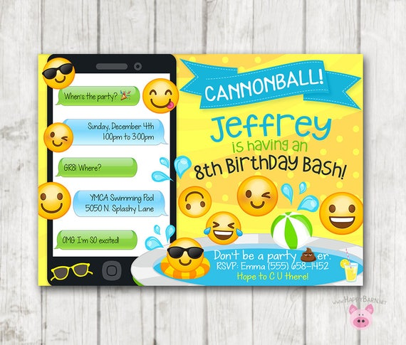 graphic regarding Printable Emoji Invitations known as Printable Emoji Pool Celebration Celebration Invitation, Swim Social gathering Emoji invites, Emoji Birthday Invitation, Emoji Swimming Birthday Boy Invitations