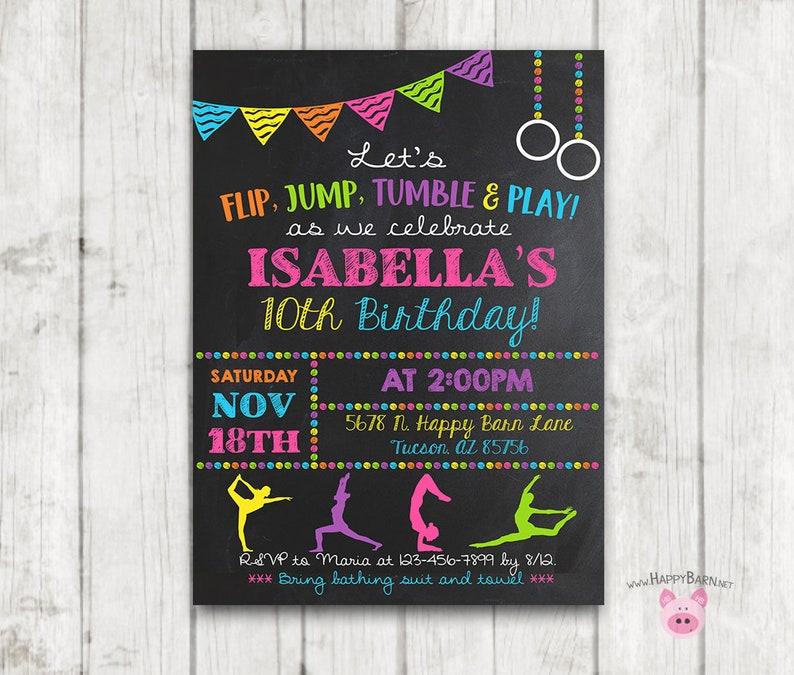 Printable Gymnastics Invitation Birthday Party