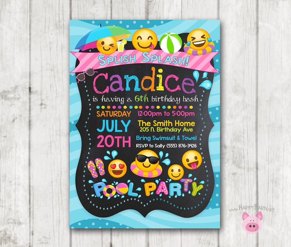 Printable Emoji Pool Party Invitation Swim