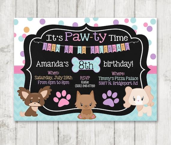 Girl Puppy Birthday Invitations Printable Dog