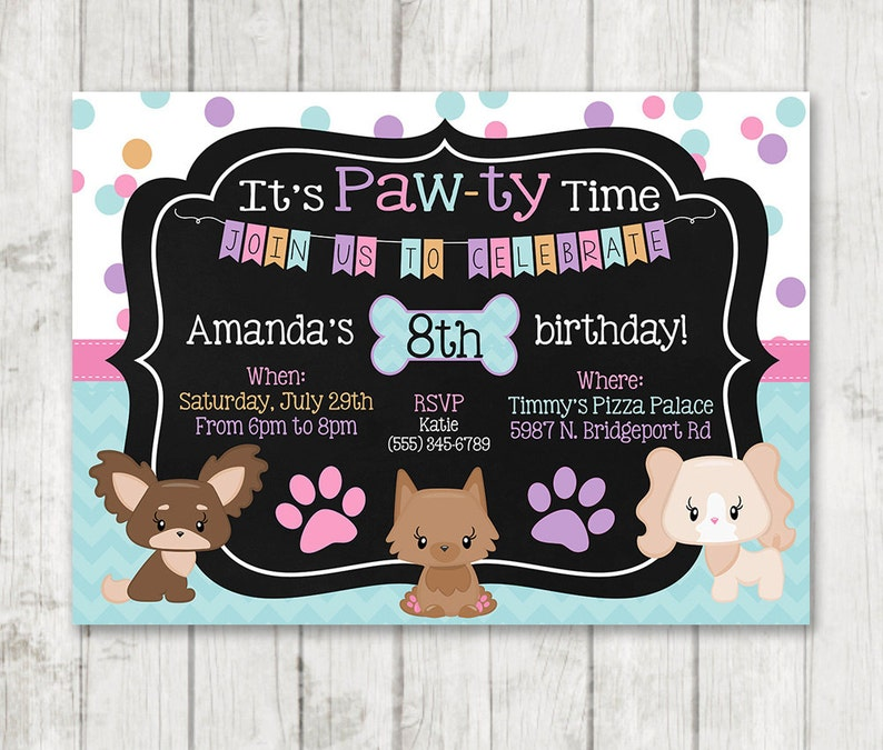 Girl Puppy Birthday Invitations Printable Dog