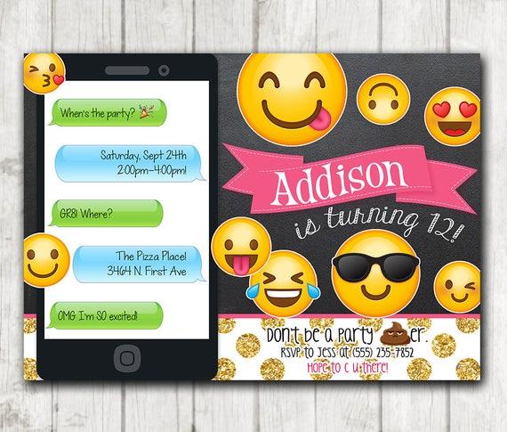 picture regarding Emoji Invitations Printable identify Chalkboard Emoji Invites, Printable Emoji Birthday Get together Texting Invites