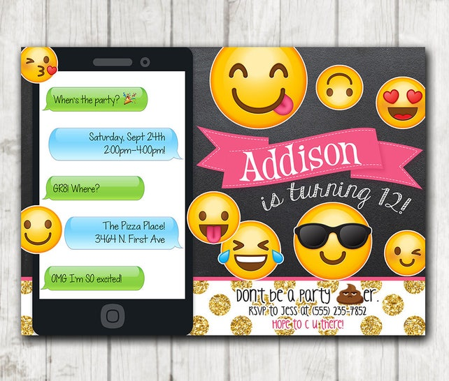 Printable Emoji Birthday Party Invitation Chalkboard Invitations Iphone Glitter Bday Invite Emoticons
