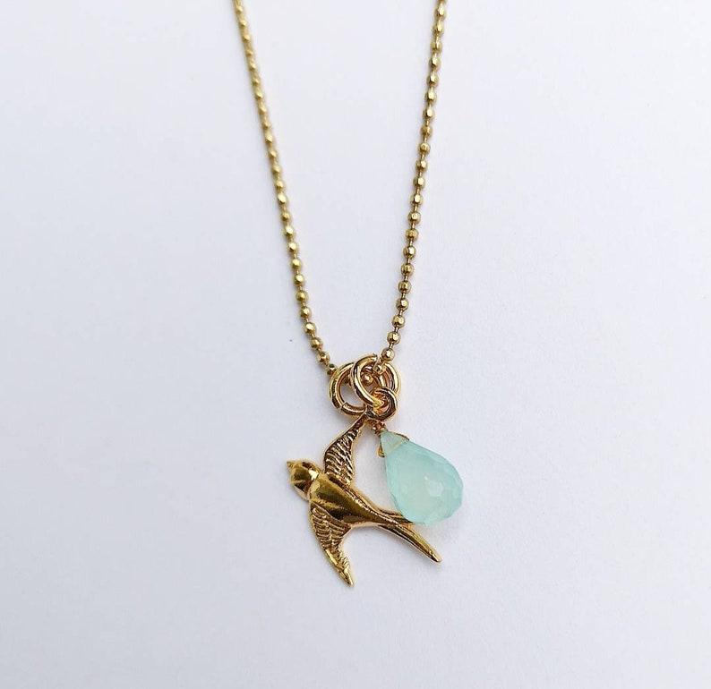 Gold necklace with bird /& aqua chalcedony
