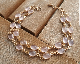 Rose Gold Bracelet with Rose Quartz