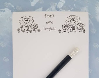 Dont ewe forget A6 notepad, sheep dont ewe forget notepad, easter present, sheep lover notepad