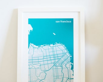 SF City map, travel print, wall art {I left my heart} in San Francisco, USA