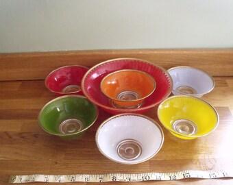 A glass Trifle/ Picnic set 1960