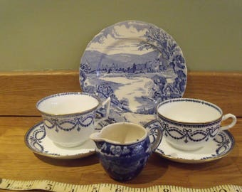 A selection of Blue and White.Wedgewood, Etruria England and Alfred Meakin