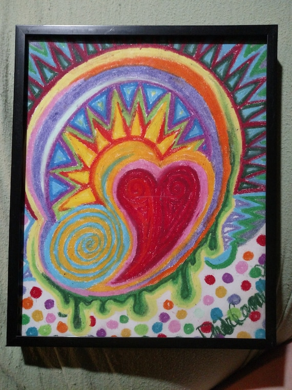 Heart Abstract in Oil Pastels