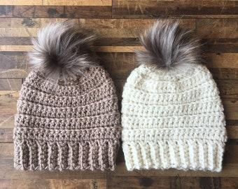 Lennox Beanie, beanie, crochet beanie, pom pom beanie, winter wear, gift under 30, winter gear, modern crochet, warm hat, beanie with pom