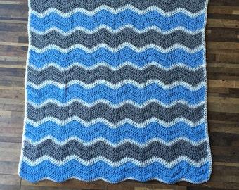 Custom Ripple Baby Blanket, baby gift, crochet blanket, shower gift, baby boy, baby girl, custom baby gift, ripple blanket, nursery decor