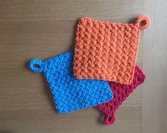 Double Thick Potholder, potholder, hot pad, kitchen accessories, wedding gift, home warming gift, crochet potholder, square potholder
