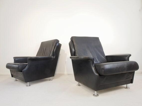 Dutch Design Fauteuil Gebr Jonkers Pastoe Jaren 60 Retro.Mid Century Vintage Pair Of Black Leather Lounge Chairs Etsy