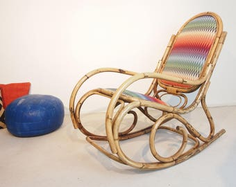 Vintage mid century rattan wicker chair in Boho style