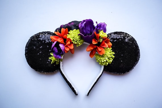 Halloween Noir Fleur Couronne Oreilles