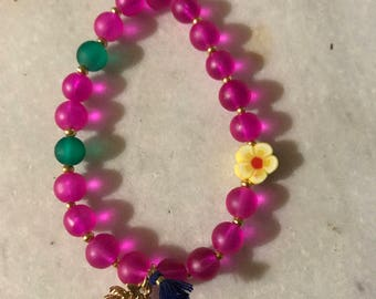 Tropical bracelet, floral, gift for best friend, sister birthday