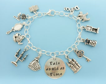 b88ad6030 Beauty and the Beast silver Charm bracelet, Tale as old as time, Belle,  Rose, Lumiere, Mrs. Potts, Break the spell with love