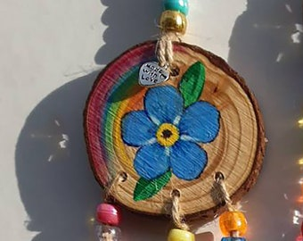 Forget-Me-Not Window Suncatcher,  Crystal Prism, Wooden Beaded Hanging Decoration, Alzheimers