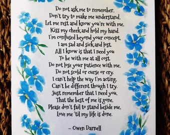 Alzheimer's art-card that can be personalised inside. Alzheimer's poem. Watercolour painting. Forget me not print