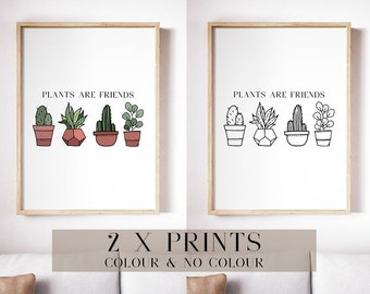 Plants Are Friends Print, Typography Printable Poster 8x10, Succulents, Cacti, Potted, Downloadable, Digital File, Instant Wall Art, Quote