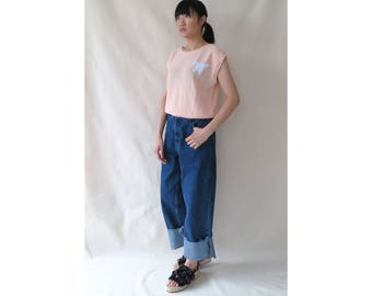 Vintage 80s Pastel Pink Top • Nubby Knit Loose Top • Cap Sleeves Relaxed Top • Sleeveless Butterfly Applique Top • Summer Vacation• S Small