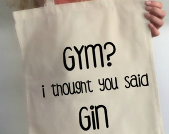 Gin Quote Tote Bag,Accessory Bag,Cotton Shopping Bag,Reusable Cotton Bag,Eco  Tote Bag,Bag for Life,Weekend Travel Bag,Gin Lover Gift,Gin Bag 7e692563b5