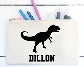 Personalised Dinosaur Dino T Rex Pencil Case School Birthday Gift Boys Girls