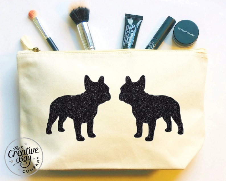 20f528f8004 French Bulldog Makeup Bag Natural Canvas Pouch | Etsy