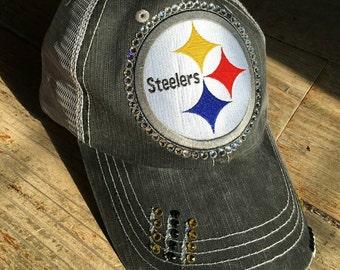 52f6cd776136c Steelers Large Patch Swarovski Bling Distressed Trucker Hat