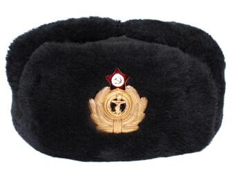 Cappello di pelliccia di ufficiali di navale russo URSS Colbacco sovietico  Navy Fleet uniforme d4ea4ba3bc05