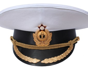 4f62d009055 USSR Soviet Naval Officer White Parade Peaked Visor hat of Captains navy  fleet