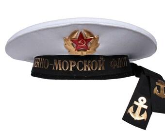 Russian Naval White Peakless cap - Beskozirka sailor hat
