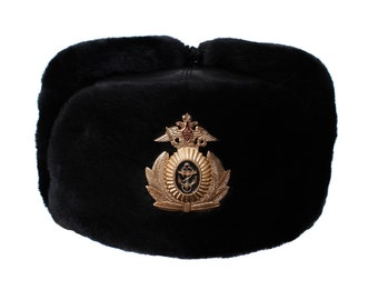 28bc4b10514 Russian Navy Captain leather Ushanka warm fur hat black winter headdress