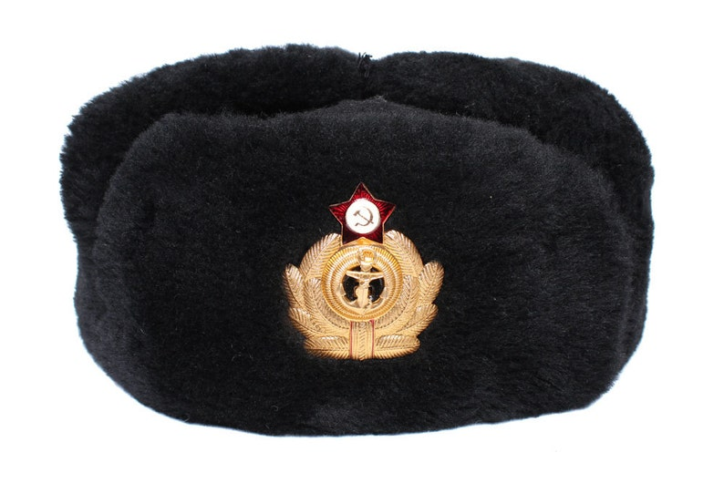 5c868687efb USSR Russian Naval Officers Fur hat Ushanka Soviet Navy Fleet