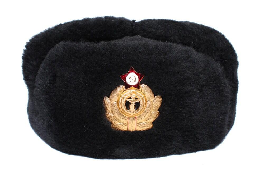 urss russie marine officiers chapka ushanka sovi tique marine etsy. Black Bedroom Furniture Sets. Home Design Ideas