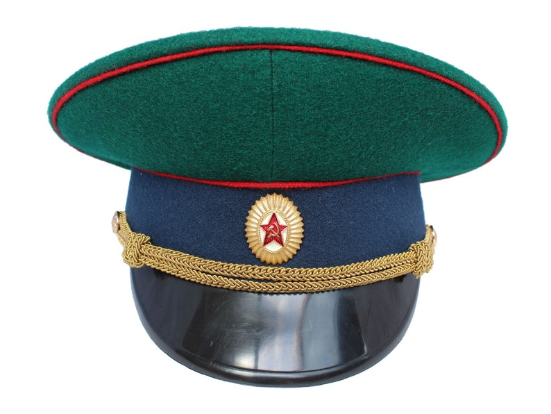fc33a5127 USSR Visor Cap Border Guards of Soviet Army Russian Officers military hat