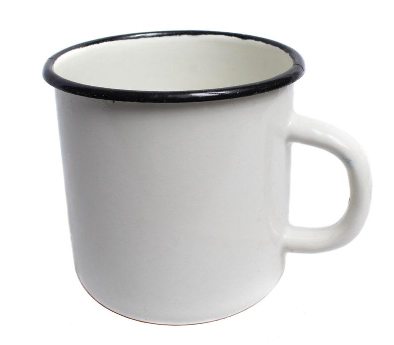 Soviet Army military White enamel mug Old metal cup image 0