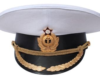 USSR Soviet Naval Officer White Parade Peaked Visor hat of Captains navy fleet