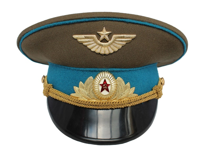 USSR Officer Air Force Visor Cap Hat Russian Army Soviet  867b861bb6f4