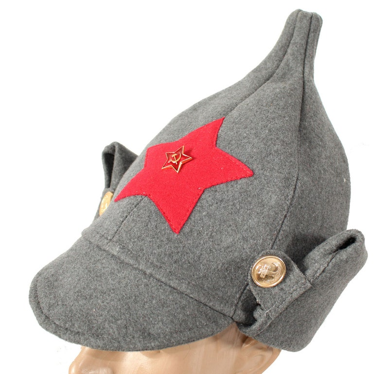 e02be01fdac Soviet Red Army woolen gray hat with ears Budenovka