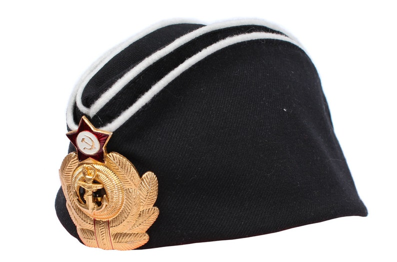 deaf812e4e1 Soviet Naval Hat black Pilotka Russian Officers Navy Fleet
