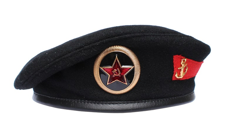 9116ee9312b Black beret Russian army hat Officers marines Soviet special