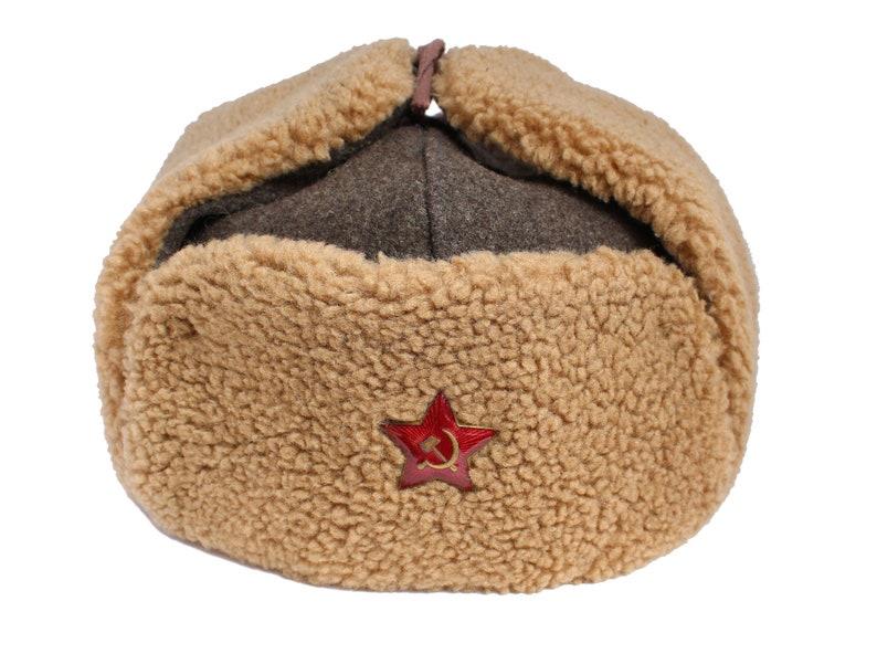 4062dd14a4fc5 Soviet brown Hat Ushanka Red Army military winter