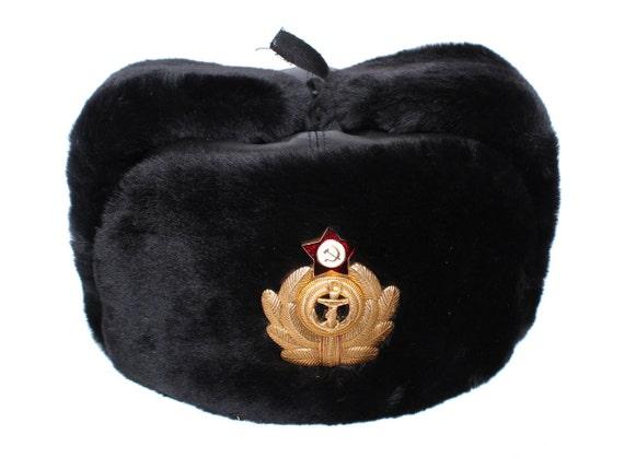 2ceb2b173c762 Soviet Naval Captain winter leather hat Ushanka