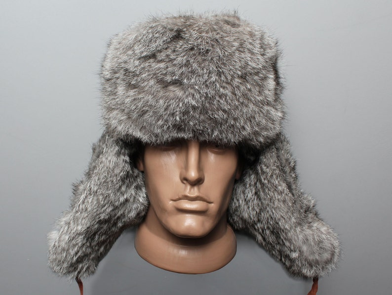 4c588095a Russian modern winter hat ushanka Gray real rabbit fur